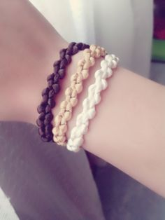 DIY pulsera triple, ¡Super facil! c/nudo macrame