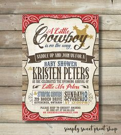 Cowboy Baby Shower Invite Invitation Boy By SimplySweetPrintShop