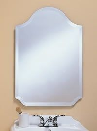 310 – Arch Top frameless mirror with 1″ beveled edge.22″ wide, 32″ high and 3/8″ deep.
