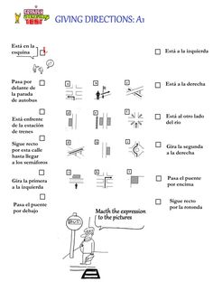Spanish Test: Spanish Vocabulary Test: Giving directions A1