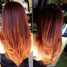 Burgundy roots, flame highlights for the middle, strawberry blonde for ends - Red/Brown Ombre