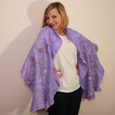 Felted #SCARF Eco $Scarf Nunofelt #Poncho Multicolour Felt by #Filtil  #felted #eco #multicolour #violet #spring #accessories #everyday #wear