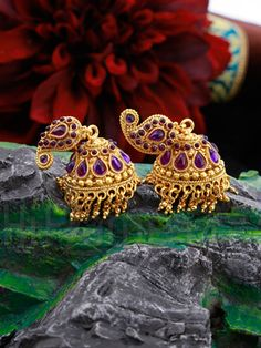 RENT : Purple Kemp Stones Enhanced Traditional Jhumkis rent in india. Purple Kemp Stones Enhanced Traditional Jhumkis affordable price at Indias best rental and shopping Site - www.HiFlame14.com