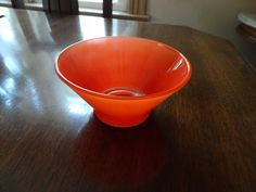 Orange Bowl Glass Bowl Midcentury Modern by QualityRetroWare