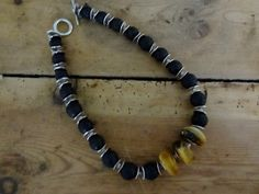 Amber and lava bead necklace