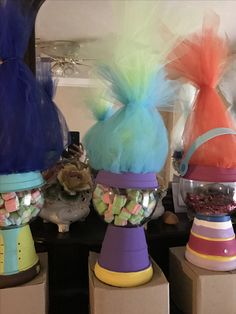 Trolls centerpieces Trolls Birthday Party, Troll Party, 4th Birthday, Birthday Parties, Birthday Party Centerpieces, Party Favors, Diy Party Planner, Candy Stand, Craft Party