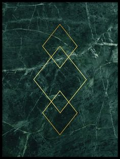 Print with green marble and gold triangles.