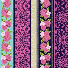 Rose Border Stripe Fabric Navy English Rosey by by StashTraders
