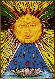 On-line free tarot readings. Consult tarot for help and advice on love and relationships. Get tarot insight, future predictions. Sun Moon Stars, Sun And Stars, The Sun Tarot, Good Morning Sunshine, Sunday Morning, Tarot Major Arcana, Sun Designs, Sun Art, Hippie Art