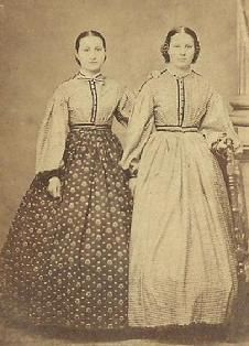 c.1861-1865, These look like school girls in their skirts and garibaldi blouses.