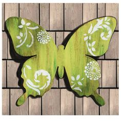 Hand Painted Wooden Butterfly Green