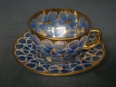 Antique Moser gilded enameled pansy floral cup and saucer signed pictured in book - Blue flowers & gold - circa 1880-1910 - Late 19th/Early 20th century teacup coffee cup tea cup