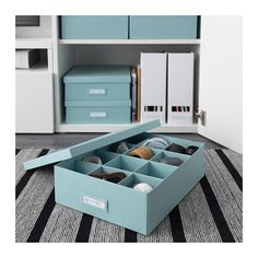 TJENA Box with compartments - light blue - IKEA - use one for sewing supplies, one for junk drawer