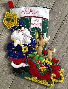 "Bucilla Police Officer Santa 18"" Felt Christmas Stocking Kit #86711, Sheriff"