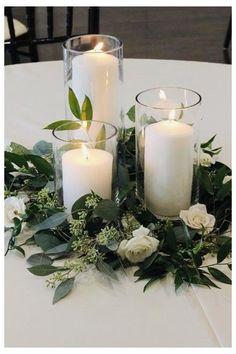 Romantic Wedding Centerpieces, Candle Centerpieces, Wedding Flower Arrangements, Pillar Candles, Wedding Flowers, Centerpiece Flowers, Centerpiece Ideas, Green Wedding, Ideas Candles