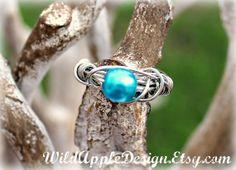 Petrol Blue Swarovski Pearl WireWrapped Ring  by WildAppleDesign, $22.00