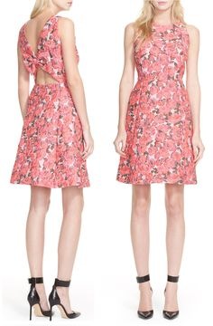 Seriously swooning over the signature Kate Spade bow detail and the ultra-romantic rose print on this fit-and-flare brocade dress.