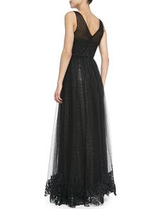 ML Monique Lhuillier  Sleeveless Sequined Gown with Tulle Overlay