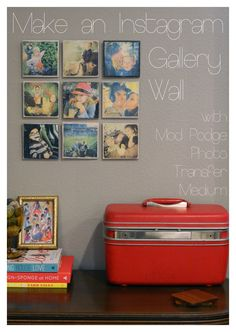 Make an Instagram Gallery Wall  Wood blocks and mod podge photo transfer.