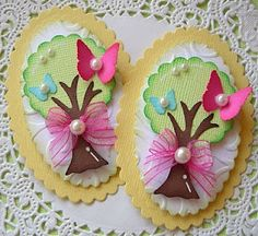 Tree with bow and butterfly tag Spring Tree, Candy Cards, Paper Tags, Scrapbook Embellishments, Butterfly Cards, Scrapbook Cards, Homemade Cards, Envelopes, Mini Albums