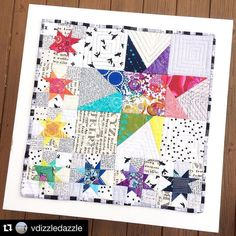 wonky star for as part of the Rainbow swap. by shoppershaz Star Quilt Blocks, Star Quilt Patterns, Star Quilts, Scrappy Quilts, Mini Quilts, Easy Quilts, Quilting Projects, Quilting Designs, Quilting Ideas