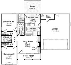 This house plan features 9' ceilings, two large bedrooms, two baths (one with oversized jet tub, and one with tub/shower combination), two raised bars for informal visiting with friends and family, a sunroom, separate laundry, linen, pantry, gas logs and plenty of built-ins.