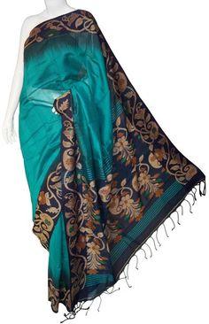 Sea Green Bengal Cotton Silk Saree with Blouse