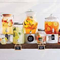 We recommend that every wedding should have a drink station no matter the season – but for those hot summer wedding days, they're pretty much mandatory! Drink Bar, Bar Drinks, Beverages, Summer Wedding Centerpieces, Wedding Summer, Trendy Wedding, Food Stations, Beverage Stations, Drink Dispenser