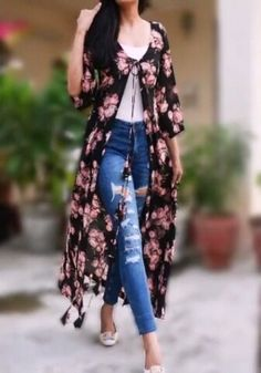 Buy White Printed Long Shrug by Colorauction - Online shopping for Shrugs in India Western Dresses, Western Outfits, Indian Dresses, Indian Outfits, Kimono Fashion, Fashion Dresses, Girl Fashion, Kurta Designs, Blouse Designs