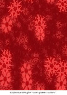 Vintage Red Christmas Snowflake Backing Paper on Craftsuprint designed by Cherie Bell -  Make your card shine with a red Christmas backing paper with vintage snowflakes! Or you can print you tag,bag and box templates on top of the print of the paper to make your other projects for Christmas. - Now available for download!