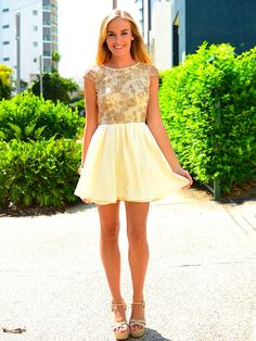 Beautiful cream and lace bridesmaid dress idea. Great heels and hair to match! #wedding #style