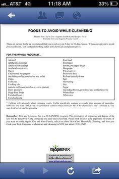 Foods to Avoid on Isagenix! http://mabeaty.isagenix.com/us/en/custom_landing.html