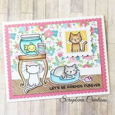 Today I am sharing a fun cat scene cards using Lawn Fawn Keep On Swimming and Meow You Doin stamp sets. Mini Picture Frames, Lawn Fawn Stamps, Cat Cards, Scrapbook Cards, Scrapbooking, Animal Cards, Card Making Inspiration, Book Of Shadows, Cardmaking