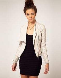 Cream leather jacket   Getting Dressed   Pinterest   Cream leather ...