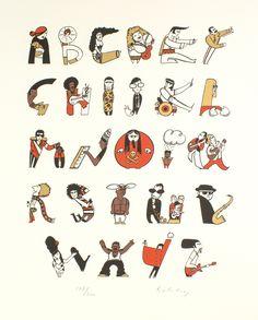 Musical Alphabet Print Alphabet Art Screenprint by: Helen lang