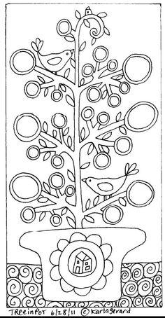 Árbol con pajaritos para colorear