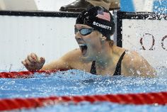 United States' Allison Schmitt reacts to her gold medal win in the women's 200-meter freestyle swimming final at the Aquatics Centre in the Olympic Park during the 2012 Summer Olympics in London, Tues