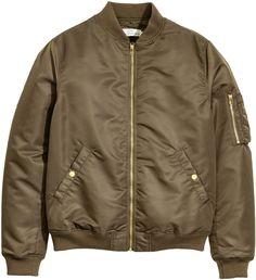 H&M - Padded Bomber Jacket - Dark khaki - Men