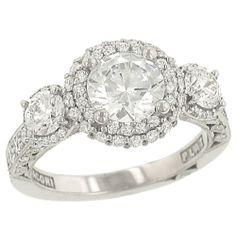 "Tacori platinum ""blooming beauties"" 3 stone diamond ring"