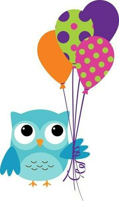 owl with balloons Birthday Clips, Owl Birthday Parties, Happy Birthday, Owl Clip Art, Owl Art, Owl Crafts, Diy And Crafts, Owl Classroom, Owl Cartoon