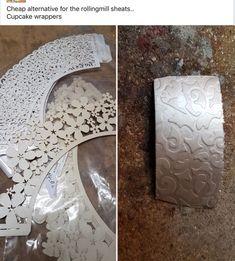 Cupcake wrappers for resist! Metal Clay Jewelry, Copper Jewelry, Wire Jewelry, Jewelry Crafts, Jewelry Art, Jewelry Design, Jewellery, Metal Embossing, Metal Stamping