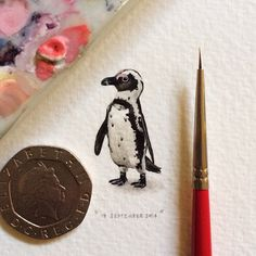Teeny-tiny paintings by Lorraine Loots. Part of a project called 365 Projects for Ants, Loots committed to create a mini painting every single day for an entire year.
