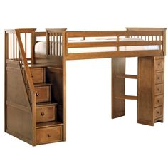 Bed time is adventure time wit this stair loft bed from NE Kids. Featuring staircase with built-in drawers and a warm pecan color, this loft bed leaves ample room for other furniture, storage or play