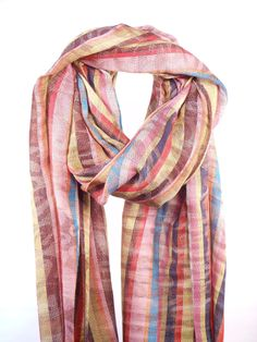 Mary Gonds Colored Striped Pashmina Scarf