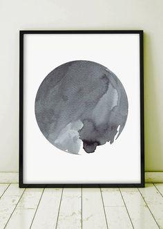 Printable Watercolor Painting Art Abstract Painting Printable Men Gift Minimal Kunst Planet Circle Dot Monochromatic Geometric 22x28 24x36
