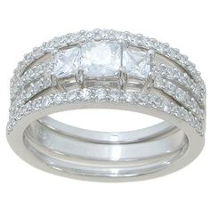 Plutus Sterling High Polish Princess Cut CZ 1 TCW Double Band Three Stone Wedding Ring Set