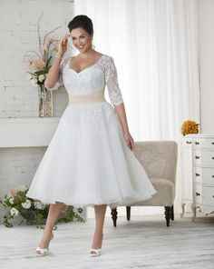 New Arrival Appliques Lace Organza Tea Length Plus Size Wedding Dresses Short 2016 With Half Sleeves Sashes A Line Bridal Gowns