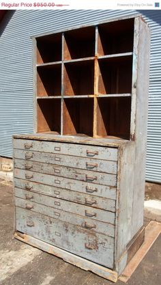 Vintage Farm Fresh Industrial Hardware Store Cabinet, Apothecary Cabinet, Grey…