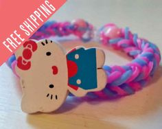 Hello Kitty hand made bracelet  you pick colors by nannasKnitneys, $4.99