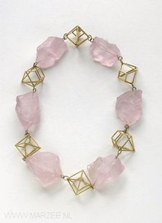 Philip Sajet - necklace, 18ct gold, rosequartz